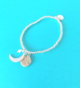 Silver Moon and Stars Stretch Bracelet