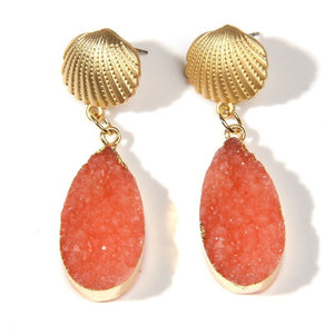 Gold Shell and Orange Druzy Earrings