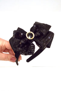 Girls Black Sequin Bow Headband