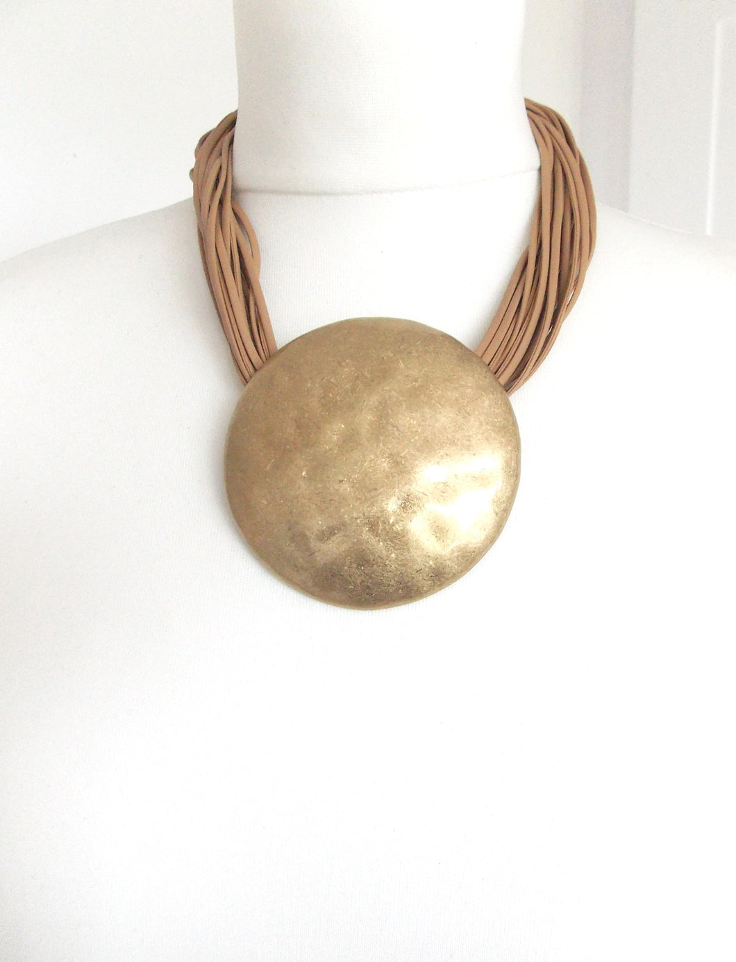 Chunky Gold Hammered Disc Statement Necklace