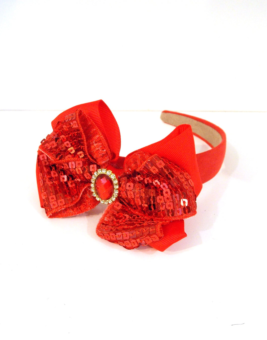 Girls Red Sequin Bow Headband