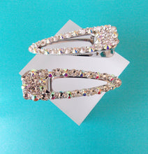 Load image into Gallery viewer, Set of 2 Silver Crystal Jewelled Hair Slides