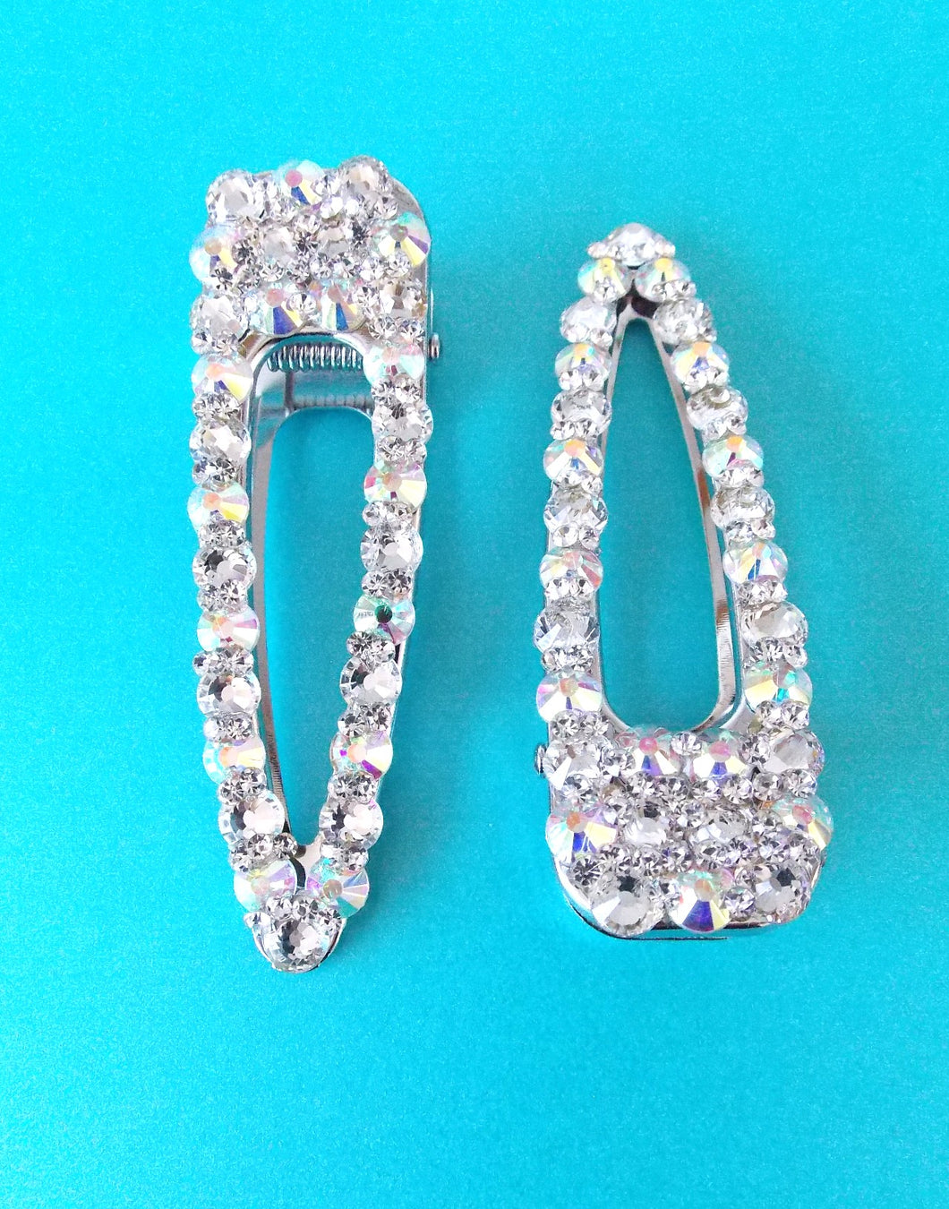 Set of 2 Silver Crystal Jewelled Hair Slides