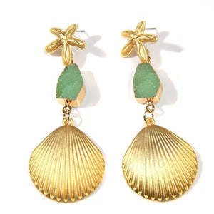 Green and Gold Shell Drop Earrings