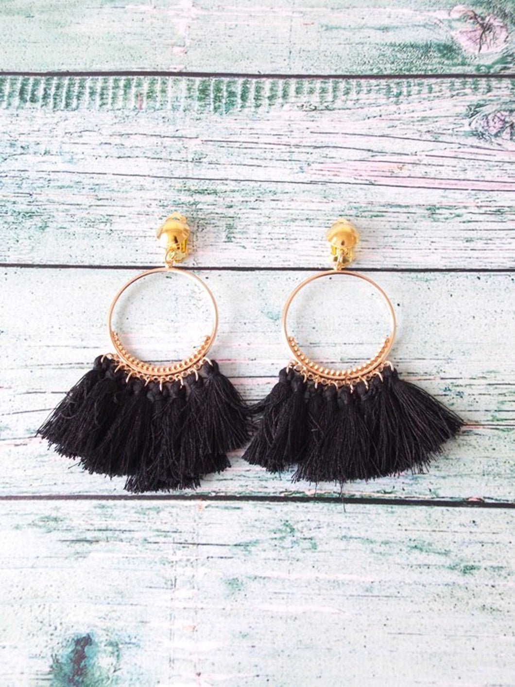 Clip On Black Tassel Boho Hoop Earrings