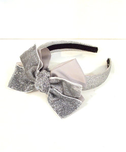 Girls Silver Bow Headband