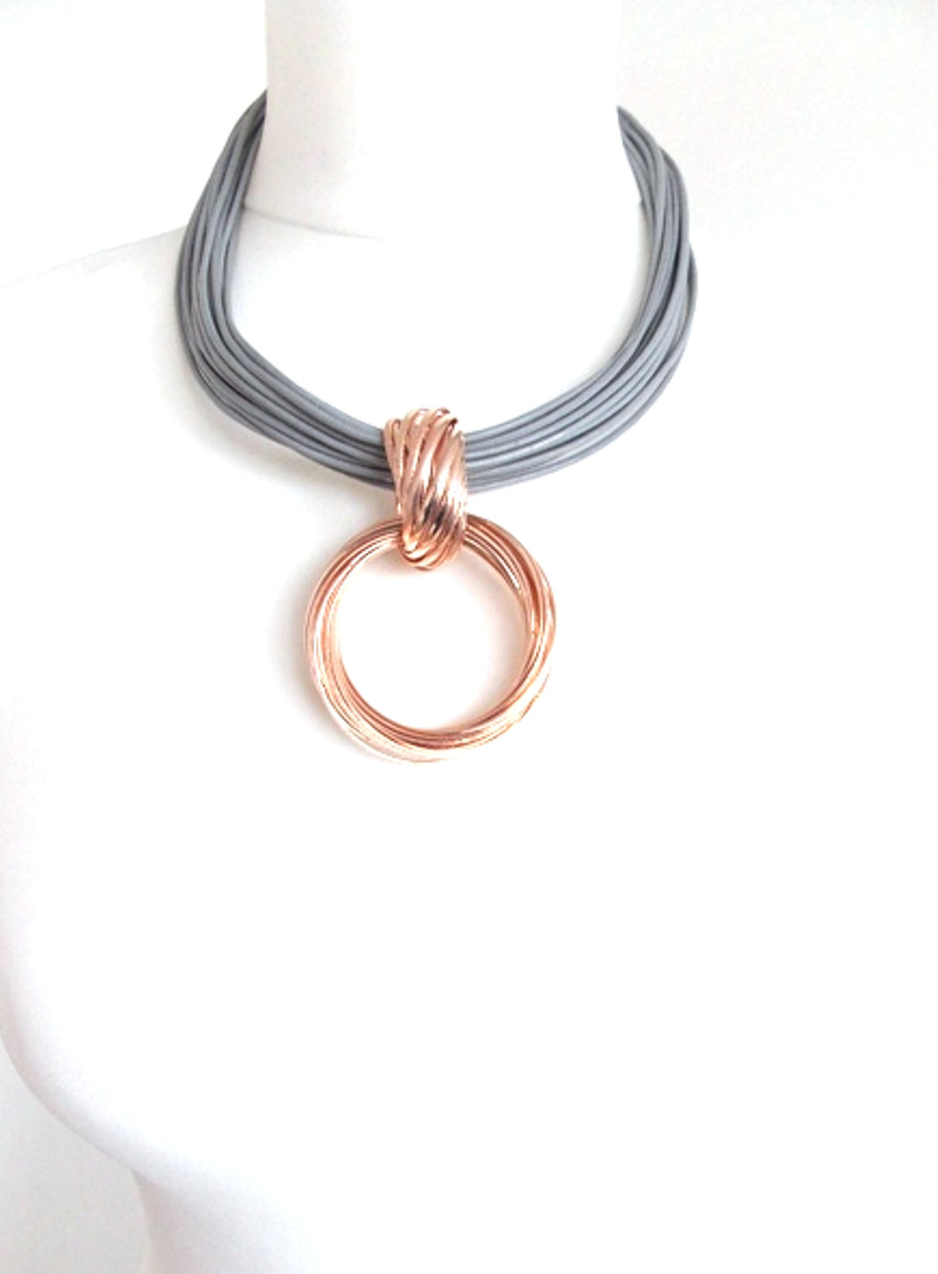 Rose Gold and Grey Multi Cord Necklace