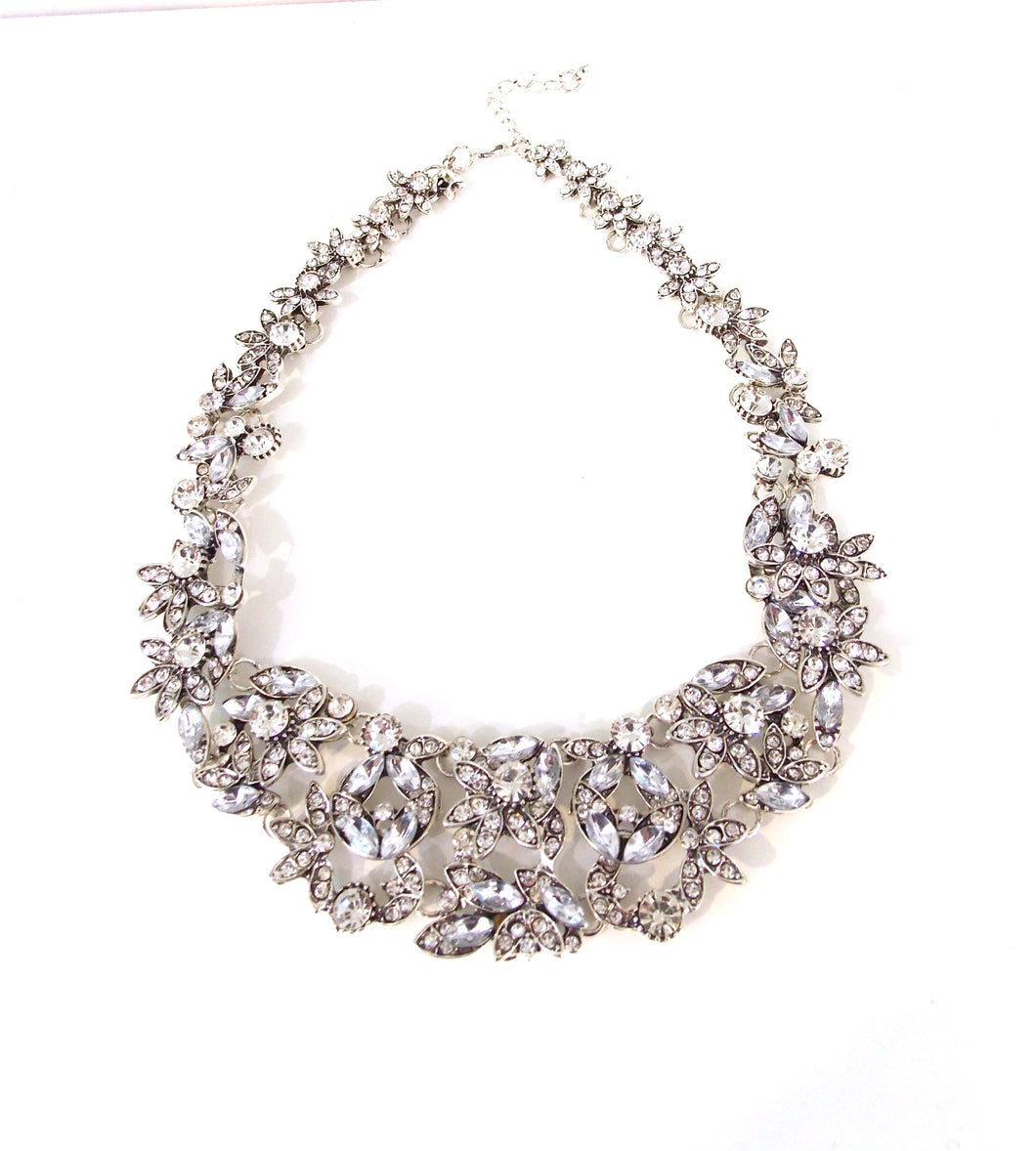 Silver Crystal Rhinestone Necklace