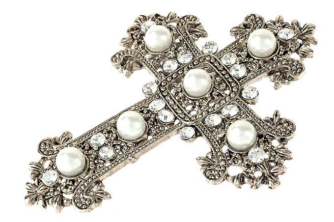 Gold and Pearl Crucifix Brooch