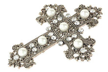 Load image into Gallery viewer, Gold and Pearl Crucifix Brooch