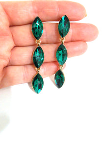 Emerald Green Three Tier Faceted Earrings