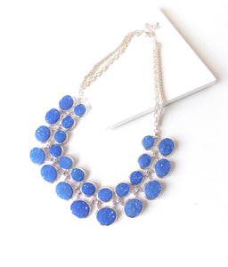 Cobalt Blue Druzy Style Statement Necklace