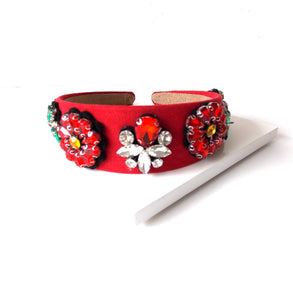 Red Floral Jewelled Headband
