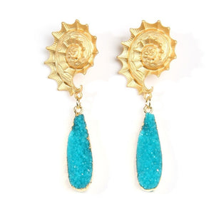 Turquoise Druzy Drop Earrings