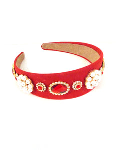 Red Faux Pearl and Crystal Jewelled Headband