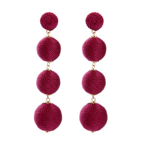 Burgundy Thread Ball Earrings
