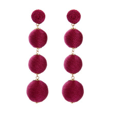 Load image into Gallery viewer, Burgundy Thread Ball Earrings