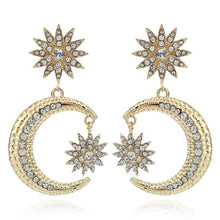 Load image into Gallery viewer, Gold Star and Moon Crystal Jewelled Statement Earrings