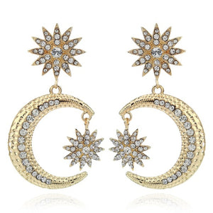 Gold Star and Moon Crystal Jewelled Statement Earrings