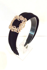 Black Crystal Buckle Headband