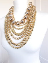 Load image into Gallery viewer, Over Sized Chunky Gold Bead Layered Statement Necklace