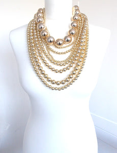 Over Sized Chunky Gold Bead Layered Statement Necklace