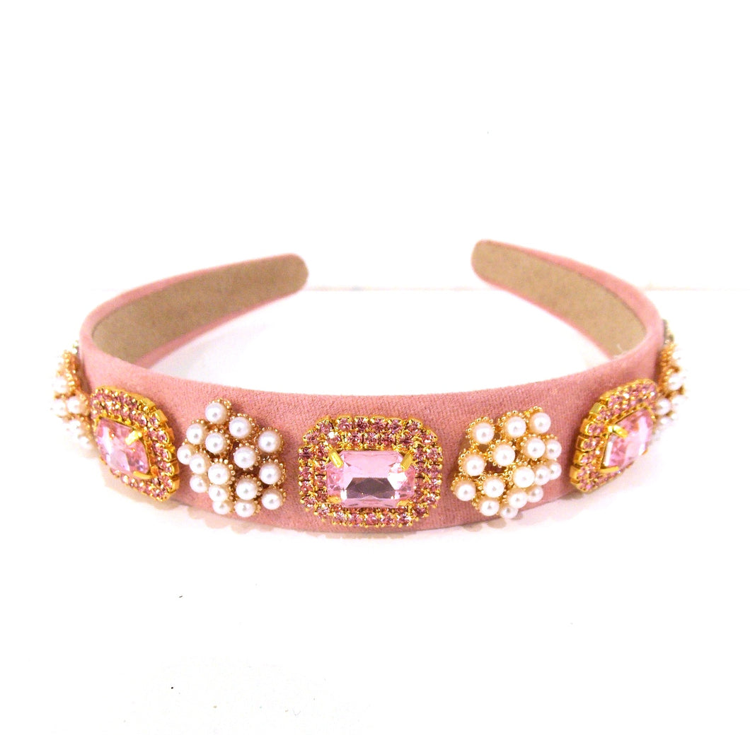 Pink Crystal and Pearl Handmade Headband