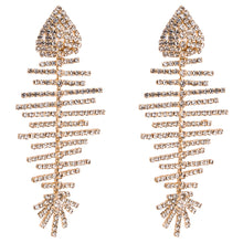 Load image into Gallery viewer, Gold Crystal Fish Bone Earrings