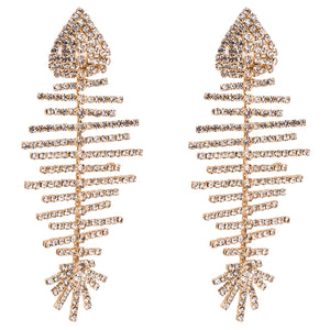Gold Crystal Fish Bone Earrings