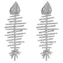 Load image into Gallery viewer, Silver Crystal Fish Bone Earrings