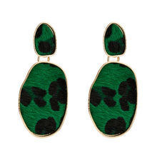 Load image into Gallery viewer, Green Leopard Print Earrings