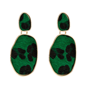Green Leopard Print Earrings