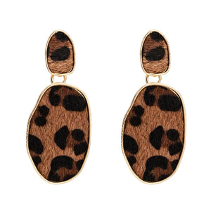 Brown Leopard Print Earrings
