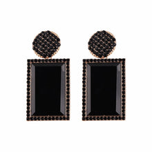 Load image into Gallery viewer, Black Jewelled Rectangle Statement Earrings
