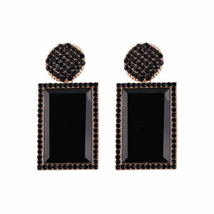 Black Jewelled Rectangle Statement Earrings
