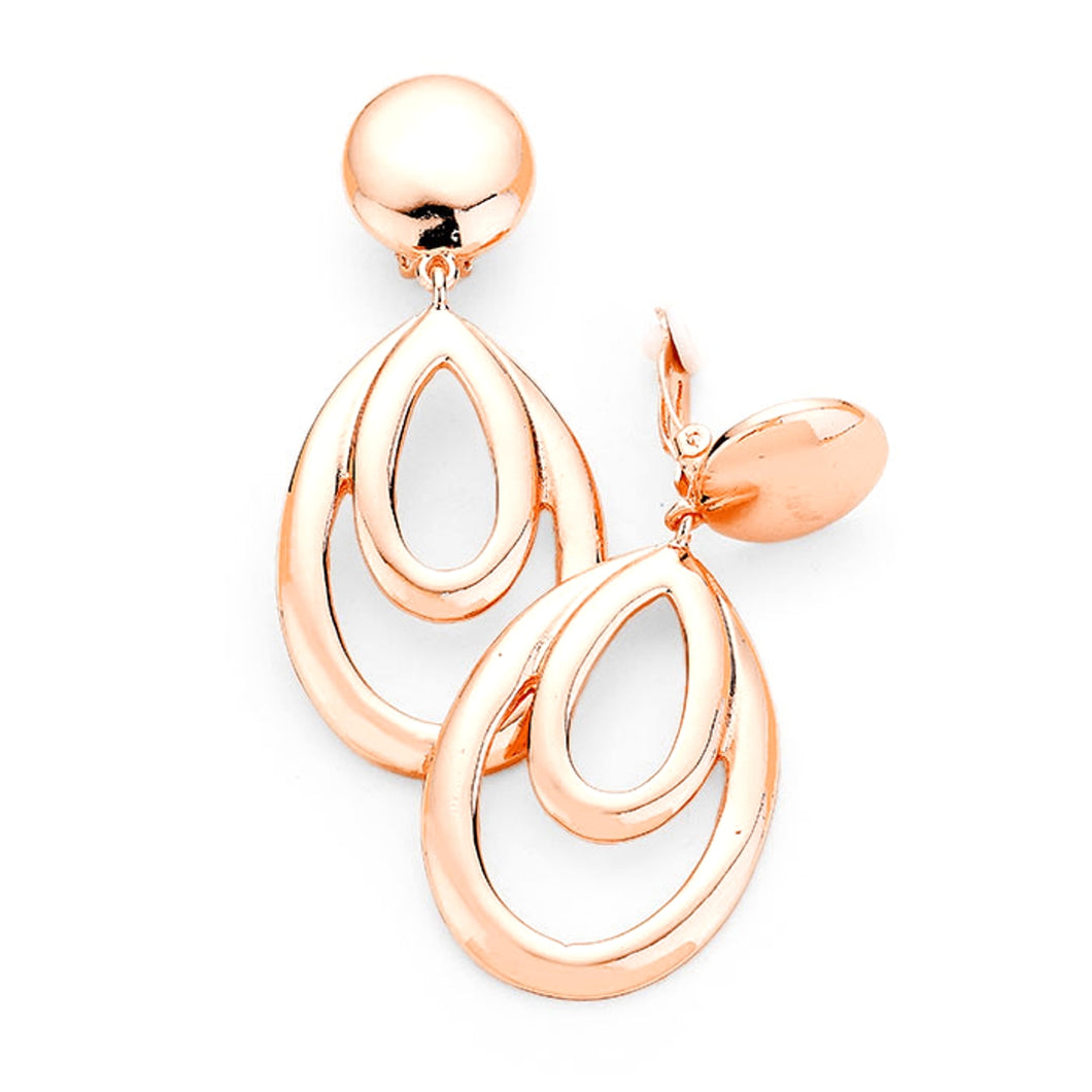 Clip On Rose Gold Teardrop Earrings