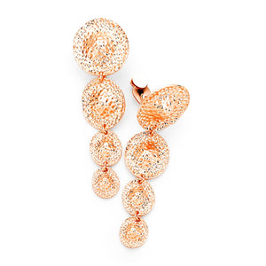 Clip On Rose Gold Disc Drop Earrings