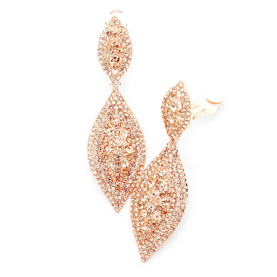 Clip On Rose Gold Rhinestone Prom Earrings