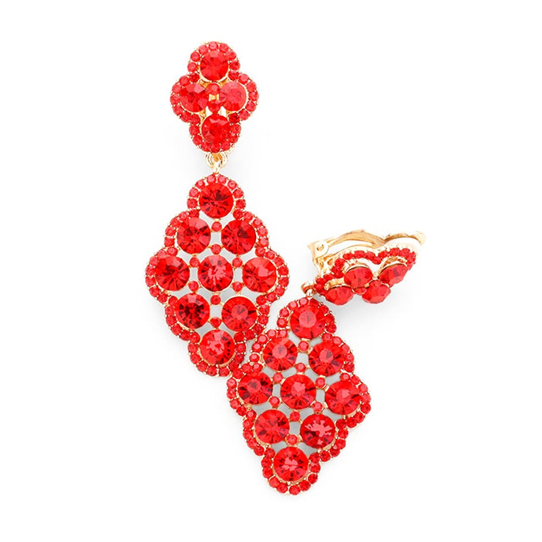 Clip On Red Jewelled Prom Earrings