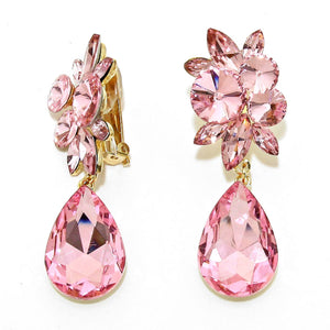 Clip On Baby Pink Floral Teardrop Prom Earrings
