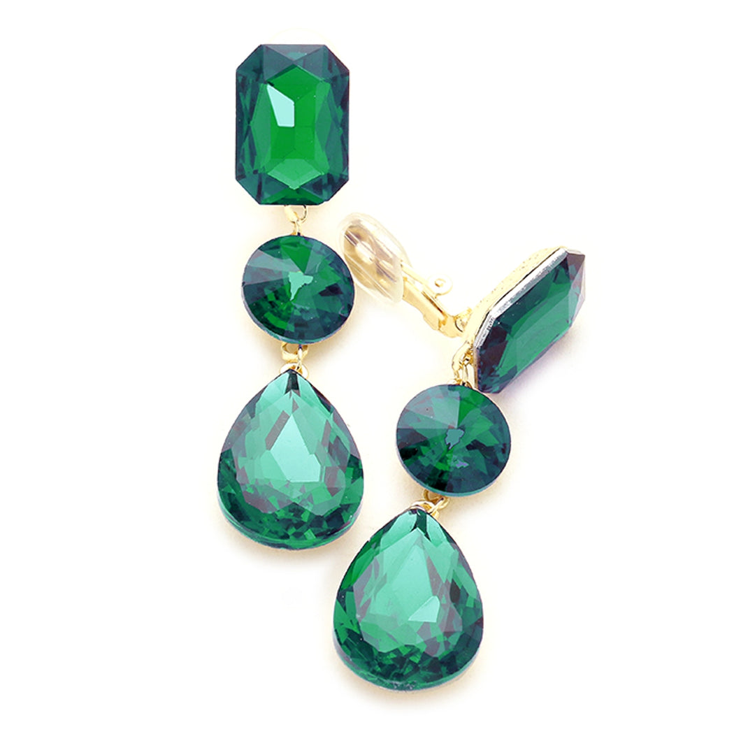 Clip On Emerald Green Three Tier Earrings