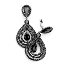 Load image into Gallery viewer, Clip On Over-Sized Black Jewelled Teardrop Earrings