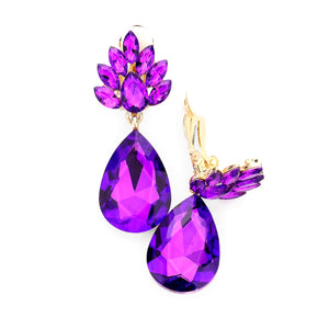 Clip On Purple Floral Teardrop Earrings