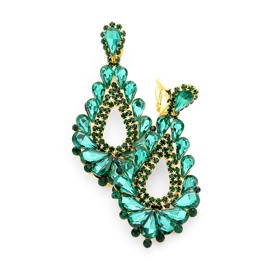 Clip On Emerald Green Jewelled Prom Earrings