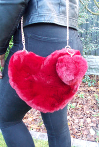 Burgundy Faux Fur Heart Pom Pom Bag