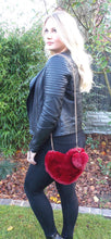 Load image into Gallery viewer, Burgundy Faux Fur Heart Pom Pom Bag