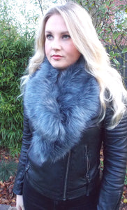 Luxe Grey Faux Fur Scarf