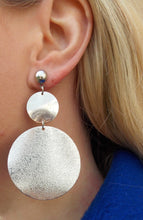 Load image into Gallery viewer, Silver Double Disc Earrings