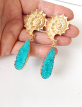 Load image into Gallery viewer, Turquoise Druzy Drop Earrings
