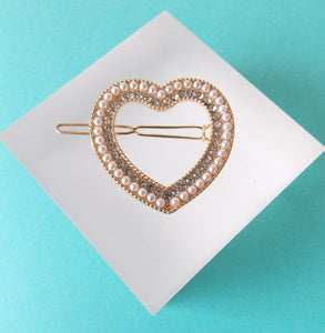 Pearl and Crystal Heart Hair Clip